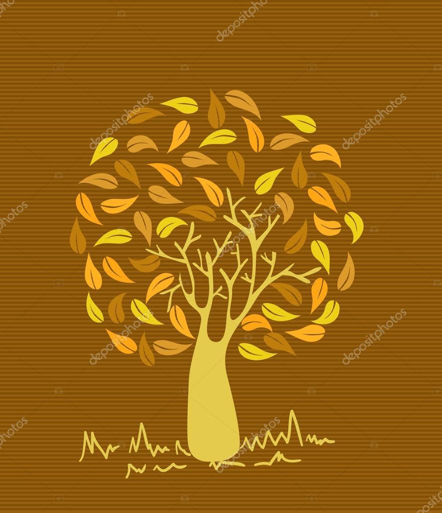 árbol de hojas de colores Vintage — Vector de stock © cienpies #27643485