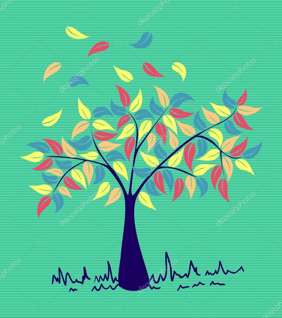 árbol de hojas de colores Vintage — Archivo Imágenes Vectoriales ...