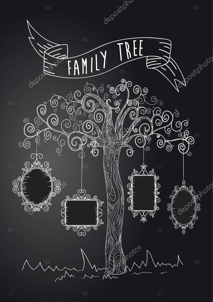 Arbol Genealogico Retro árbol Vintage Frames Vector De Stock