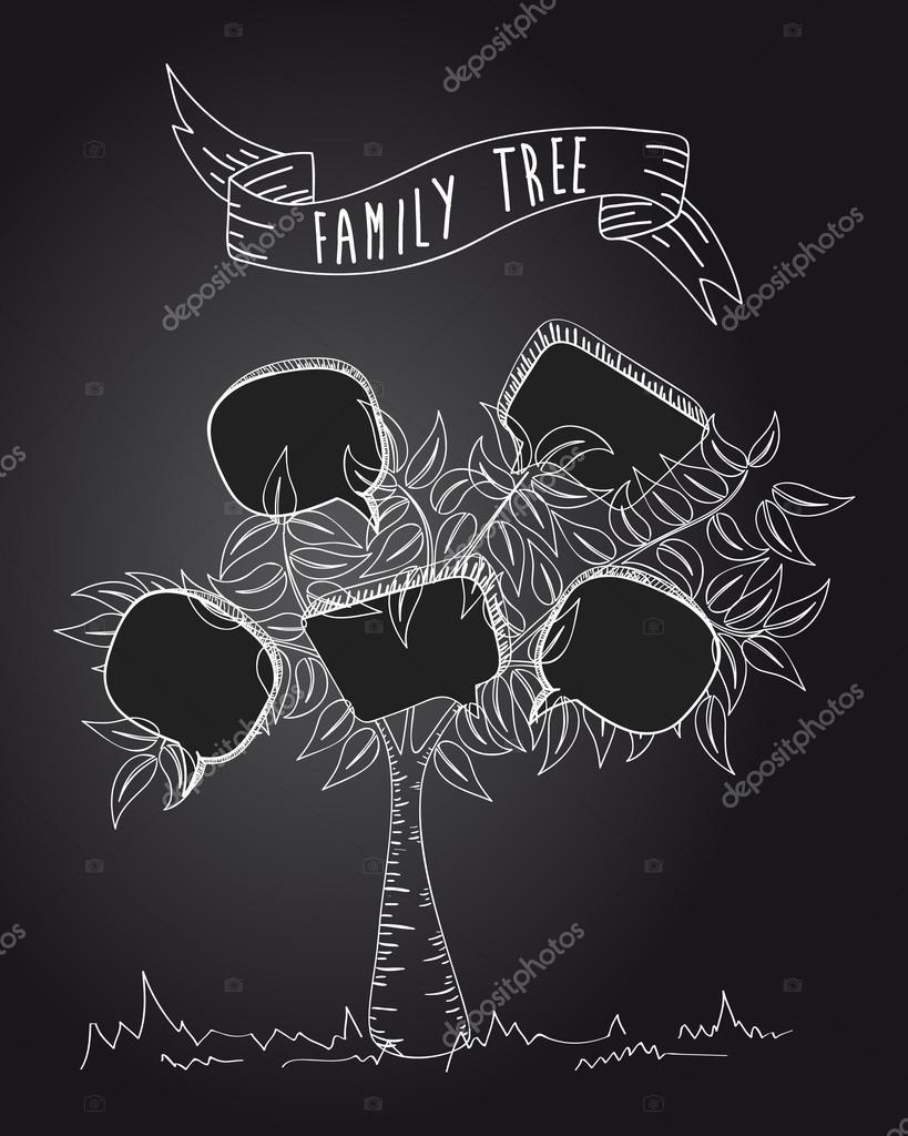 Arbol Genealogico Retro árbol De Medios Sociales Vintage Vector