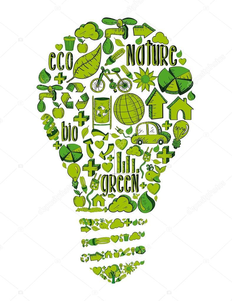 Lâmpada verde com ícones ambientais — Vetor de Stock © cienpies ...