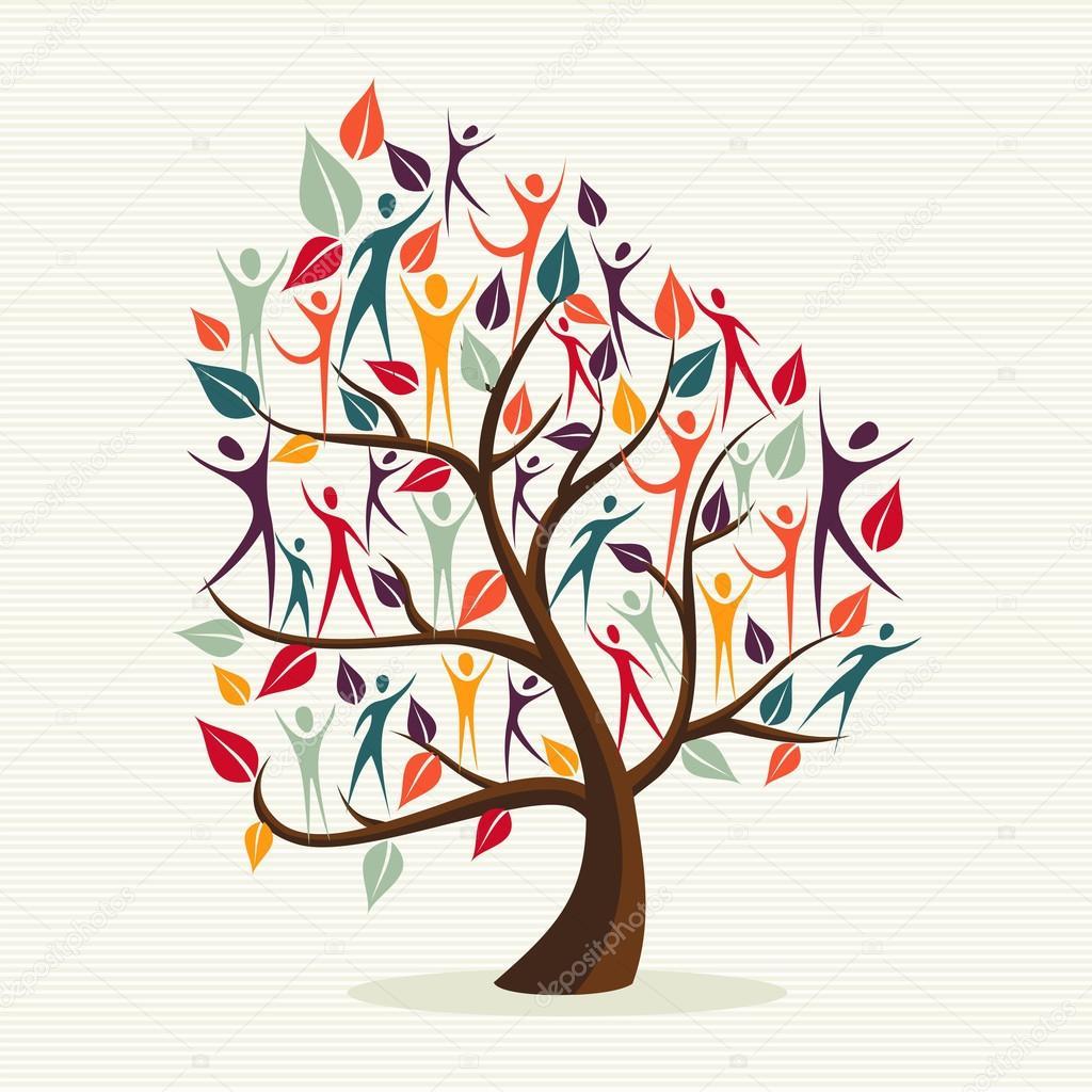 diversidad humana deja árbol set. — Vector de stock © cienpies #27644203