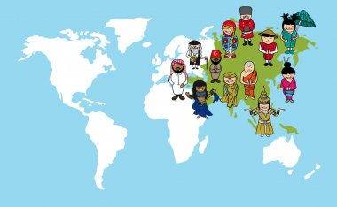 Asian people cartoons, world map diversity illustration.