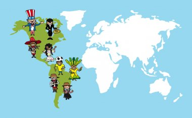 America people cartoons, world map diversity illustration.