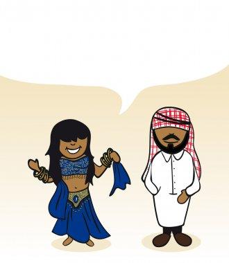 Arabian cartoon couple social bubble