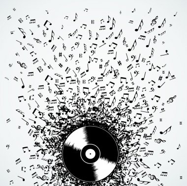 Dj music notes splash record vinyl