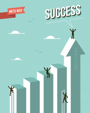 Web marketing Success chart illustration. This illustration is layered for easy manipulation and custom coloring clip art vector