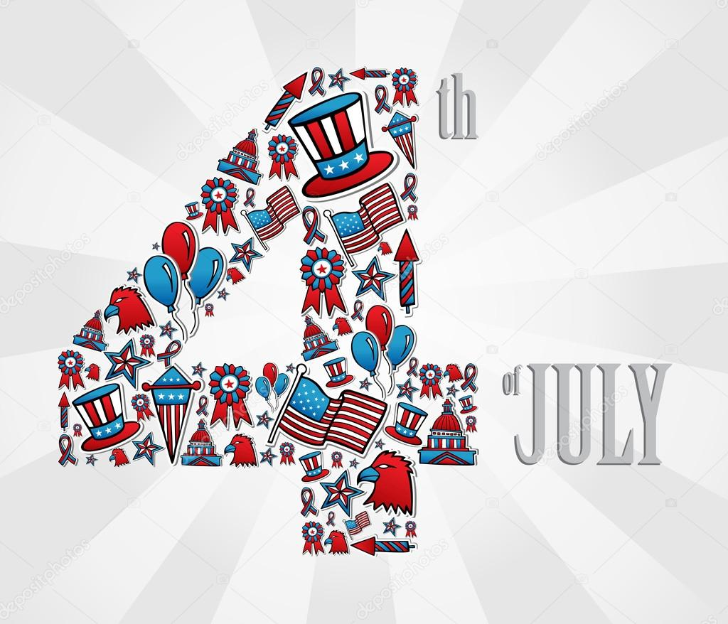 iconos de 4 de julio día de la independencia — Vector de stock ...