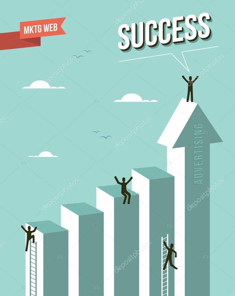 Web marketing Success chart illustration. This illustration is layered for easy manipulation and custom coloring clipart vector
