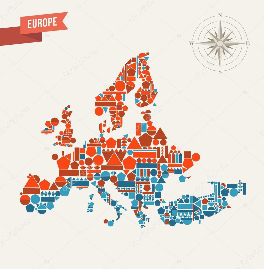 Ilustración de mapa Europa figuras geométricas — Archivo Imágenes ...