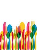 Többszínű átlátszó étkészlet