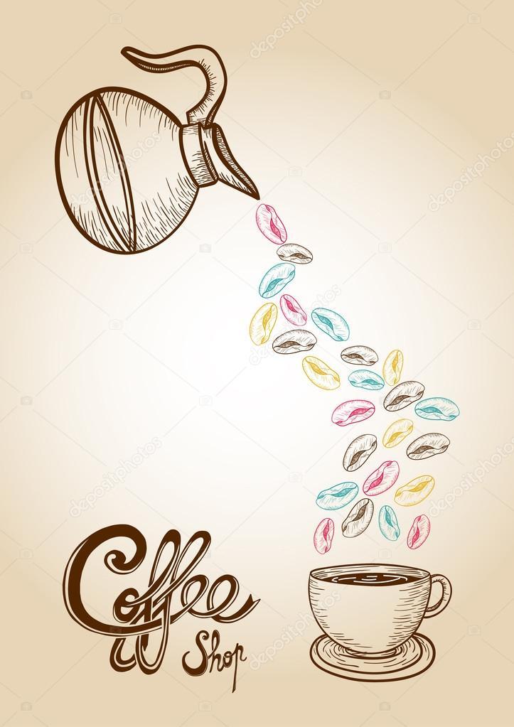 Ilustración de café dibujo colorido estilo frijoles — Vector de ...