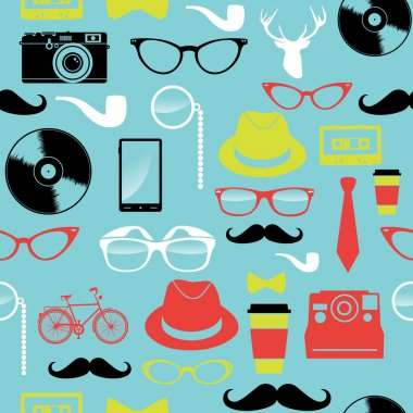 Colorful retro hipsters icons seamless pattern.