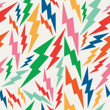 Colorful, retro bolt seamless pattern.