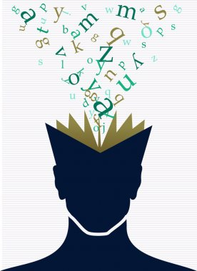 Human head book words concept.