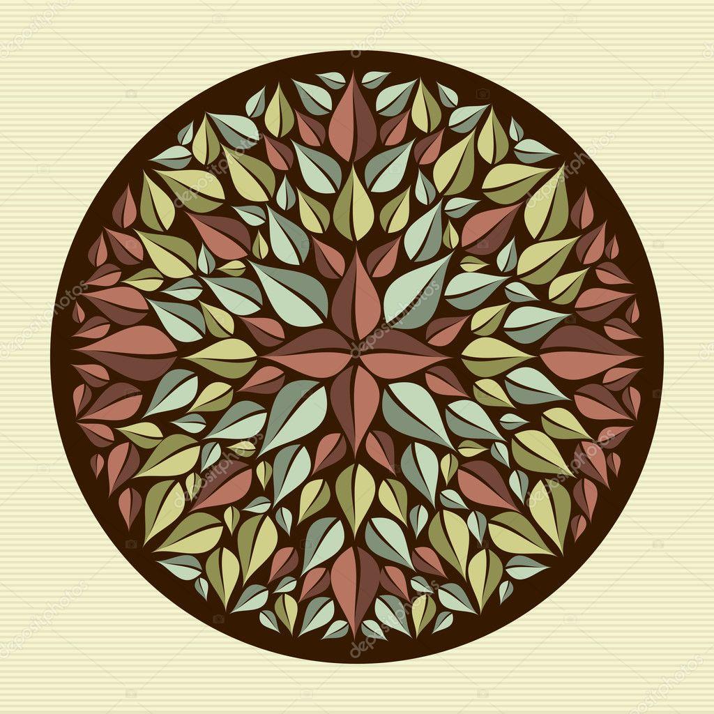 hojas yoga mandala — Vector de stock © cienpies #29913783