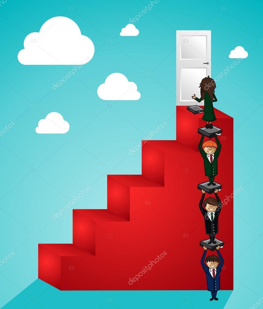 pasos de trabajo en equipo de negocios a las personas de éxito ...