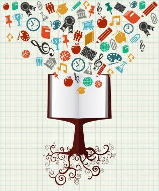 Education colorful icons book tree.