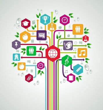 Back to school flat icons education network tree.