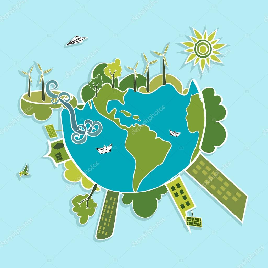 Green World ecologic elements.