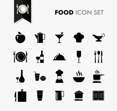 Black isolated food icon set restaurant menu elements background illustration. Vector file layered for easy editing. stock vector