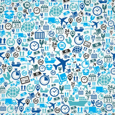 Shipping logistic seamless pattern blue icon set background.