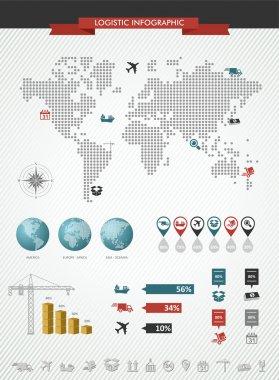 Shipping logistic infographic world map icons set illustration.
