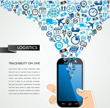 Shipping logistics mobile human hand icons splash.