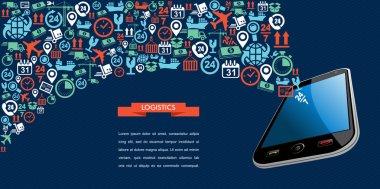 Shipping logistics app text ribbon mobile icon splash illustrati
