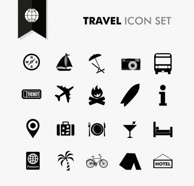 Travel fresh icon set.