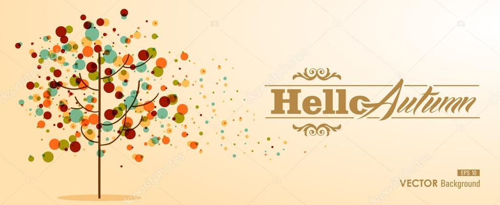 Hello Autumn text with abstract tree concept EPS10 file backgrou