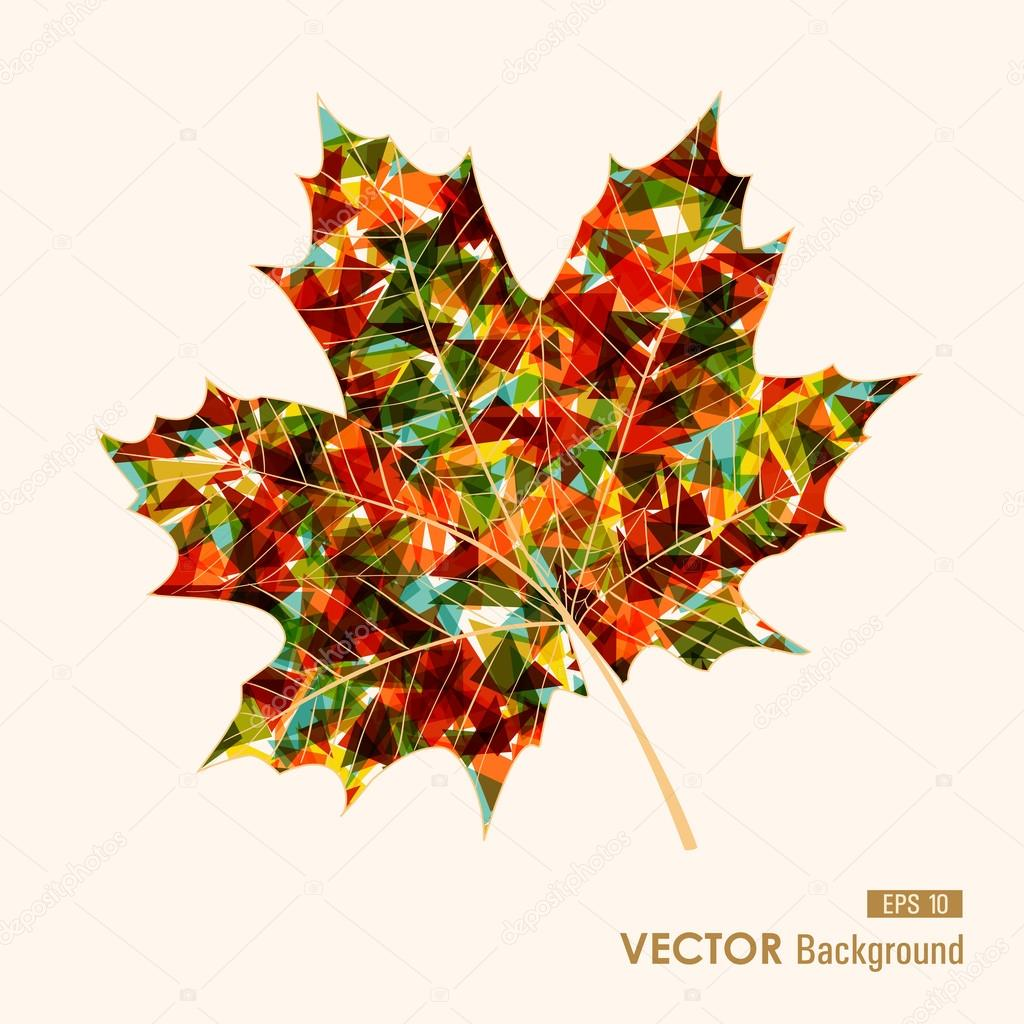 Colorful leaf with triangles inside. Autumn background. EPS10 fi