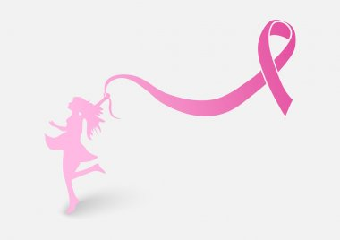 Breast cancer awareness ribbon with woman shape EPS10 file.