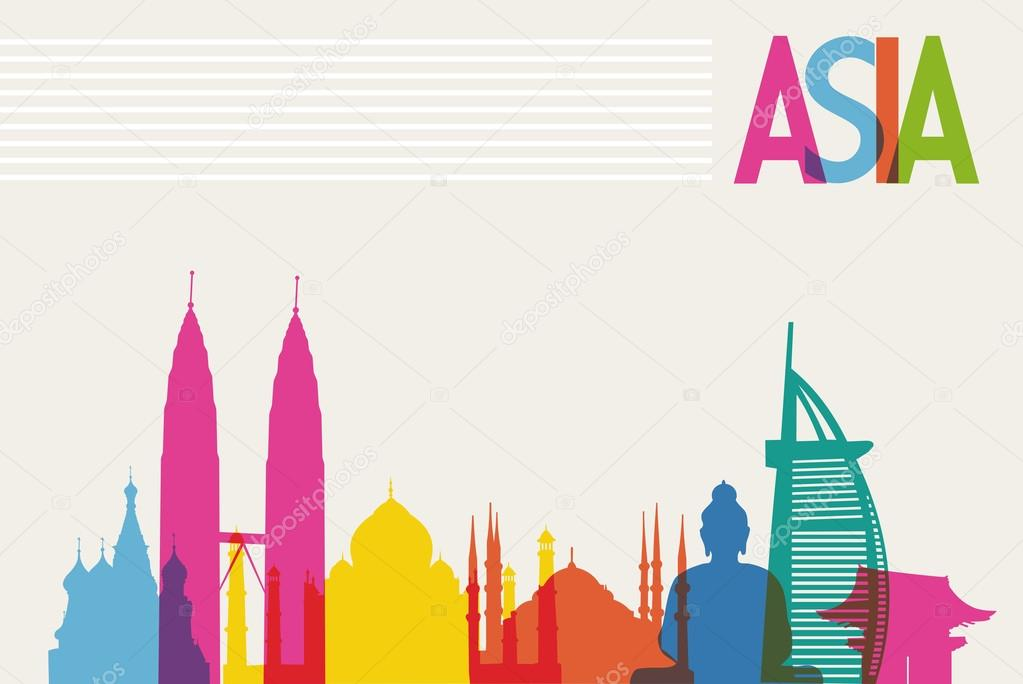 Diversity monuments of Asia, famous landmark colors transparency