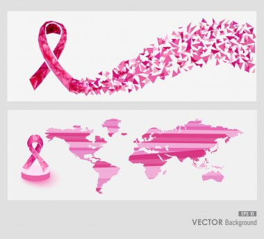 Global Breast cancer awareness web banners EPS10 file.
