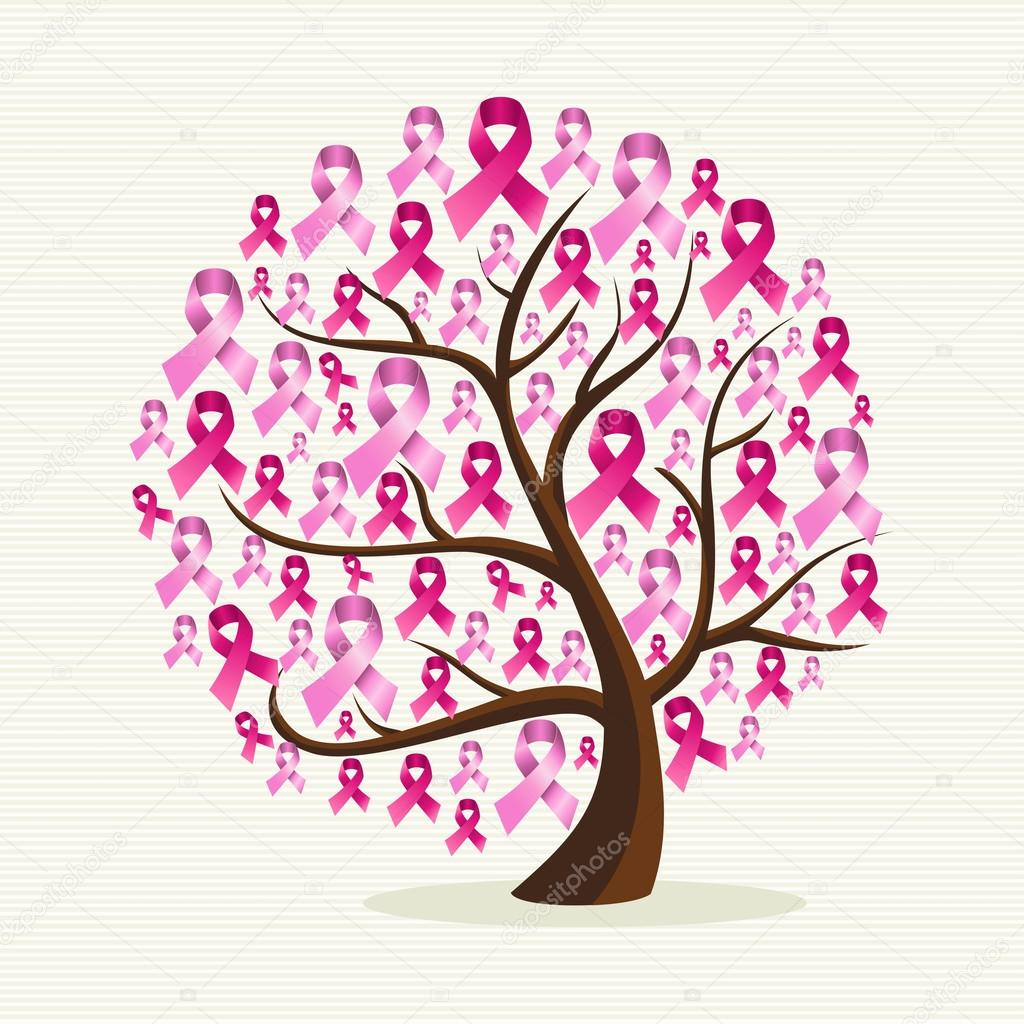 Breast cancer awareness pink ribbons conceptual tree EPS10 file.