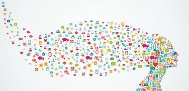 Human head shape social media icons composition. EPS10 file.