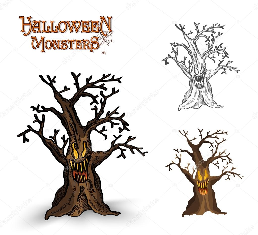 Halloween monsters spooky tree illustration EPS10 file