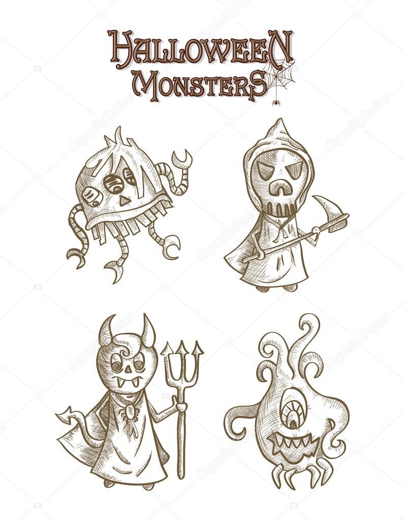 monstros de halloween assustadoras esboçar arquivo de eps10 conjunto