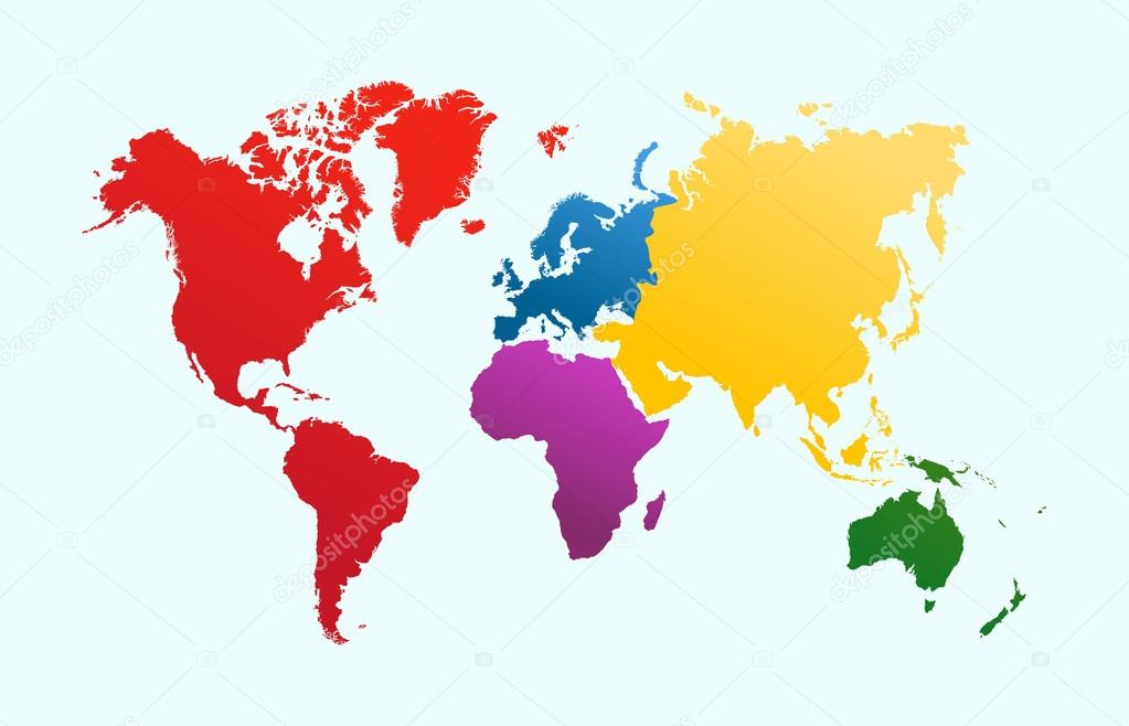 Continents stock vectors royalty free continents illustrations world map colorful continents atlas eps10 vector file stock vector gumiabroncs Choice Image
