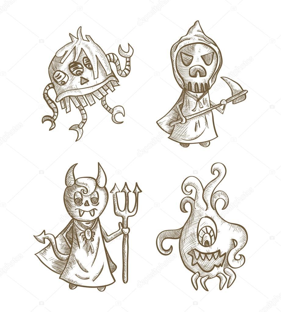 monstruos de Halloween aislado conjunto de criaturas espeluznantes ...