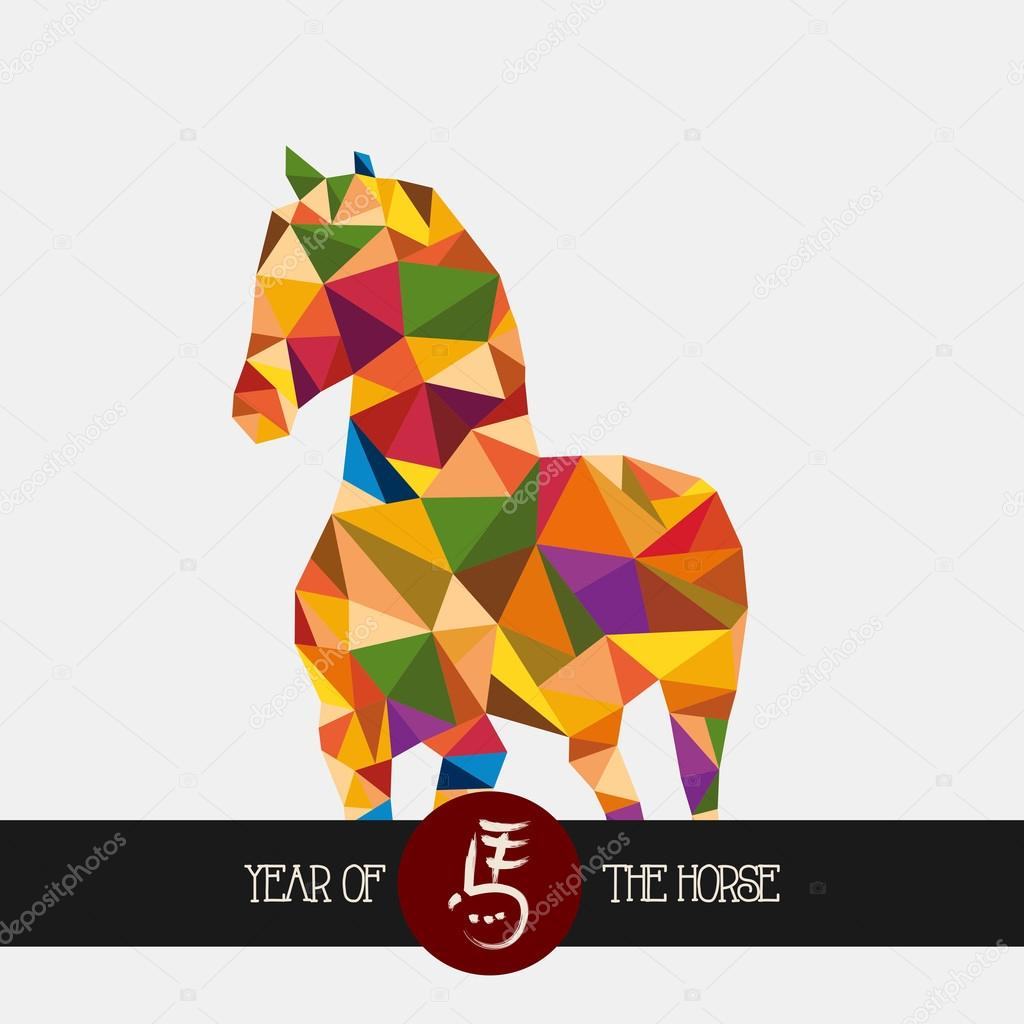 Chinese new year of the Horse colorful triangle shape file.