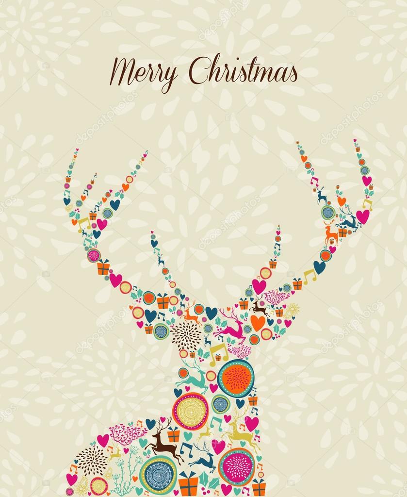 feliz vendimia elementos renos saludo tarjeta de Navidad — Archivo ...