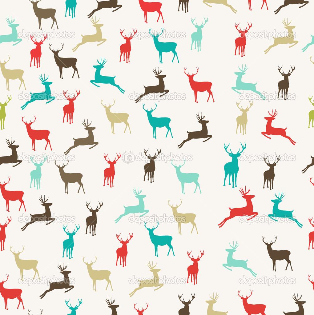 Feliz Navidad renos inconsútil de fondo — Vector de stock © cienpies ...