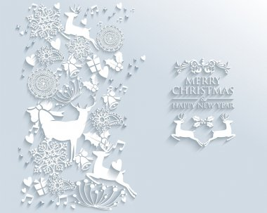 White Merry Christmas and Happy New Year winter greeting card