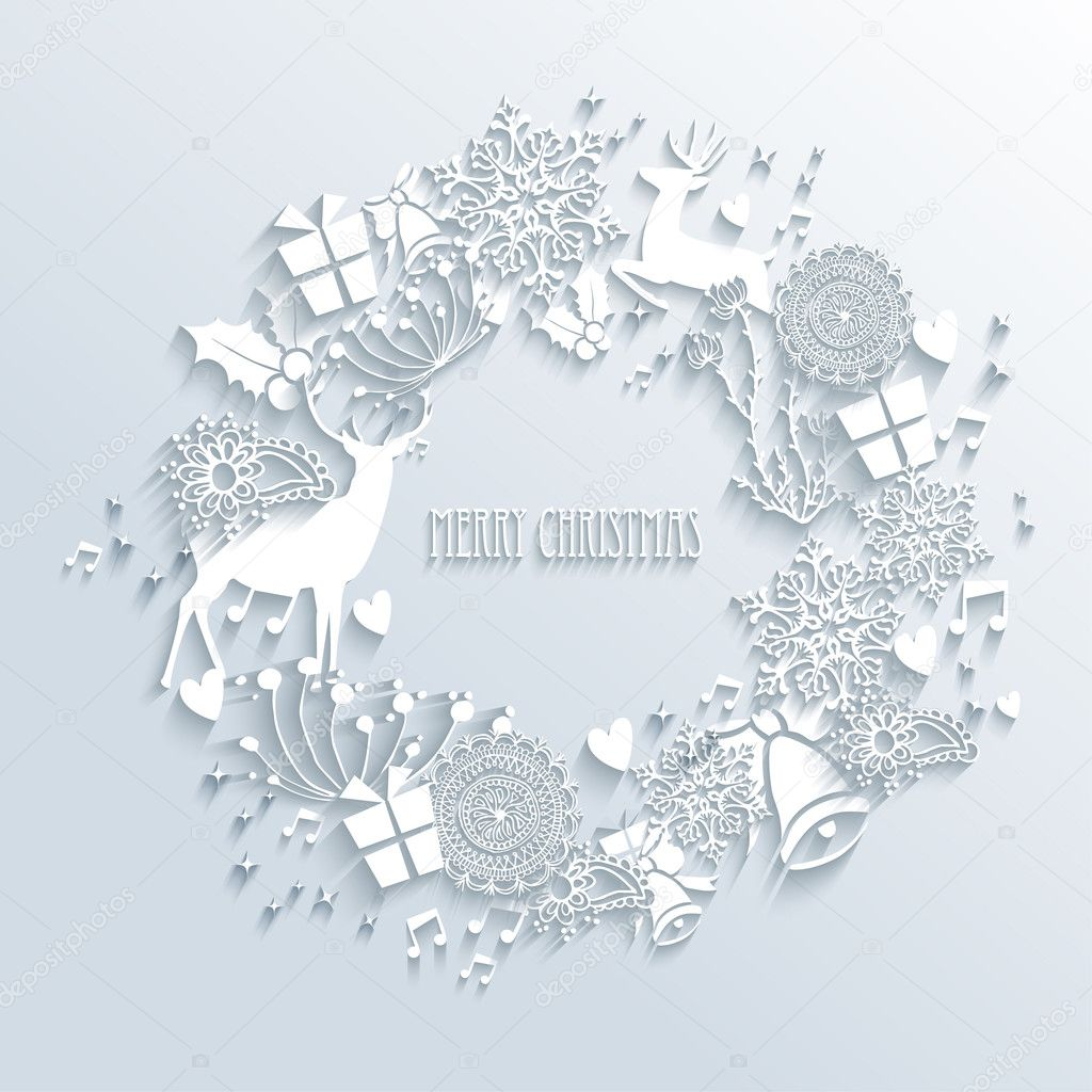 White Merry Christmas wreath greeting card