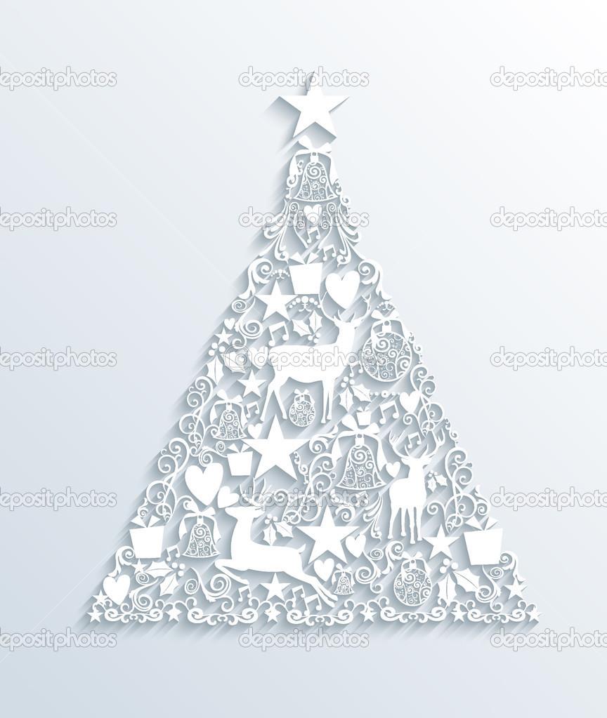 weiße Frohe Weihnachten zeitgenössische Baum Grußkarte — Stockvektor ...