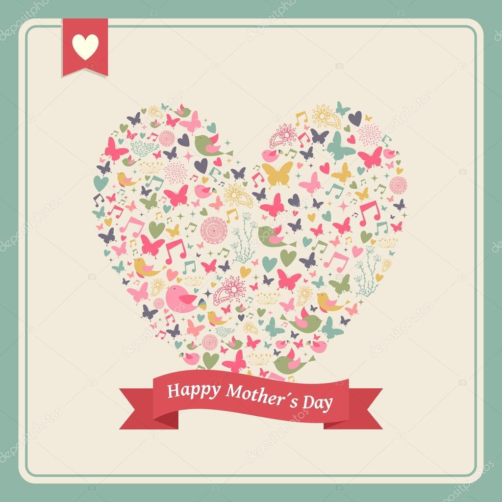 glücklich Mütter Tag Herz-Elemente-Zusammensetzung — Stockvektor ...