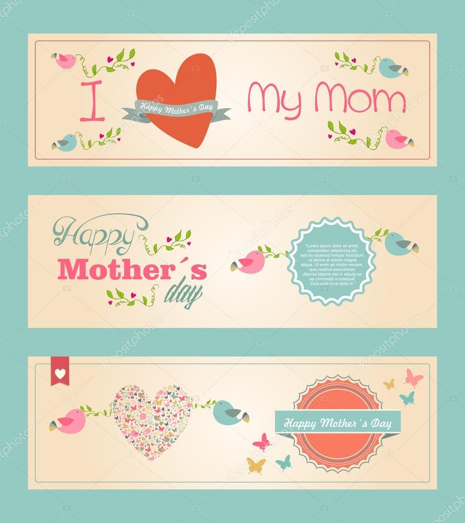 Retro hübsch glücklich Mütter Tag Banner gesetzt — Stockvektor ...