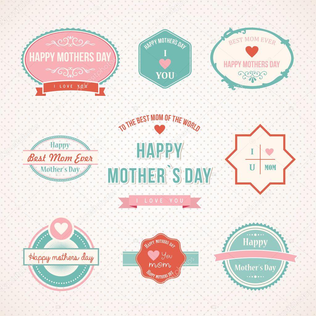 Retro Mütter Tag Set Etikettendesign — Stockvektor © cienpies #44614955